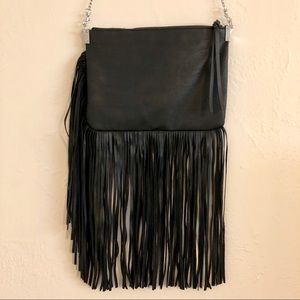 Black faux leather fringe purse from H&M.